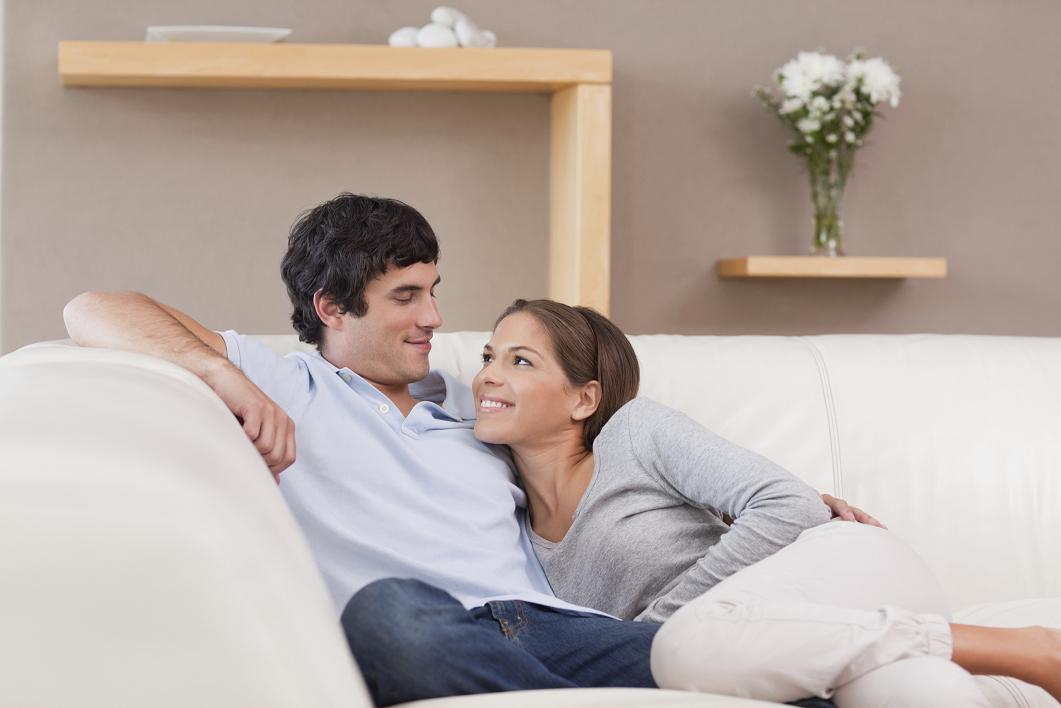 Couple on the sofa in love