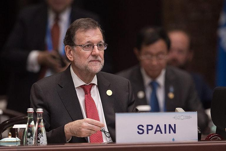 ASF785. Hangzhou (China), 04/09/2016.- Spanish Prime Minister Mariano Rajoy listens to Chinese President Xi Jinping speech during the opening ceremony of the G20 Leaders Summit in Hangzhou on September 4, EFE/EPA/NICOLAS ASFOURI